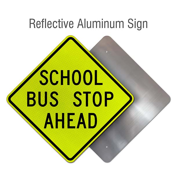 School Bus Stop Ahead Sign