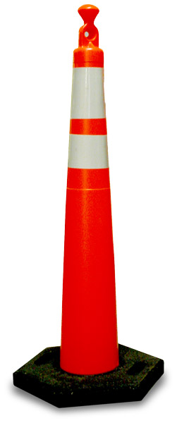 """42"""" Cone with Reflective Bands and 16lb. Base"""