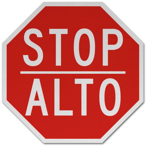 Bilingual Stop Alto Sign