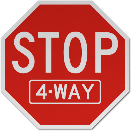 Stop 4 Way Sign
