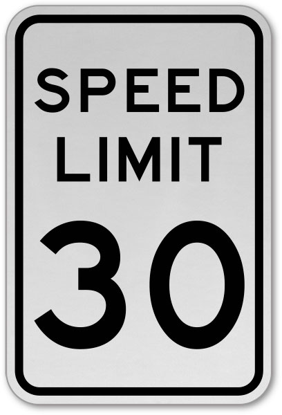 Speed Limit 30 MPH Sign