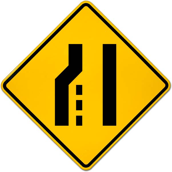 Left Lane Ends Sign