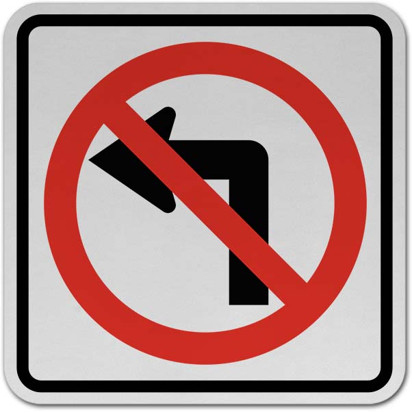 No Left Turn Sign