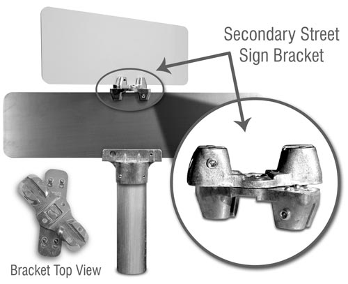 2-Way Adjustable Cross Separator For Flat Blade Street Name Sign