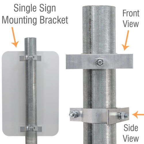 2-3/8'' Round Post Sign Bracket For 1 Sign