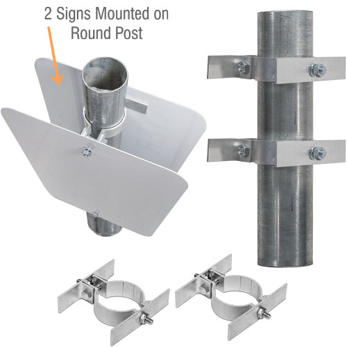2-3/8'' Round Post Sign Bracket For 2 Signs Back to Back