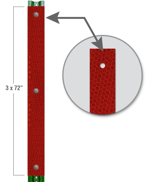 Red Reflective U-Channel Post Panel