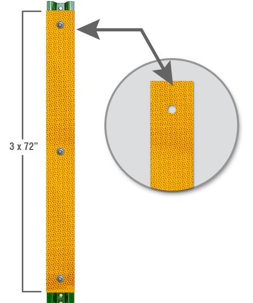 Yellow Reflective U-Channel Post Panel