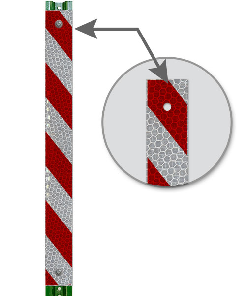 Red / White Striped Reflective U-Channel Post Panel