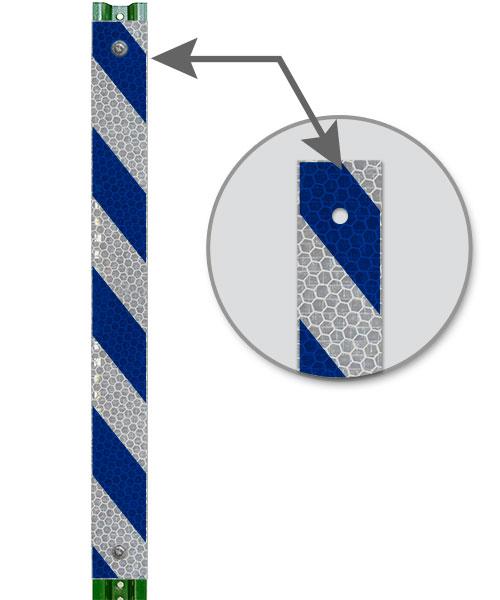 Blue / White Striped Reflective Post Panel