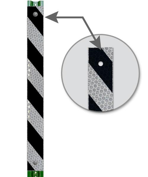 Black / White Striped Reflective Post Panel