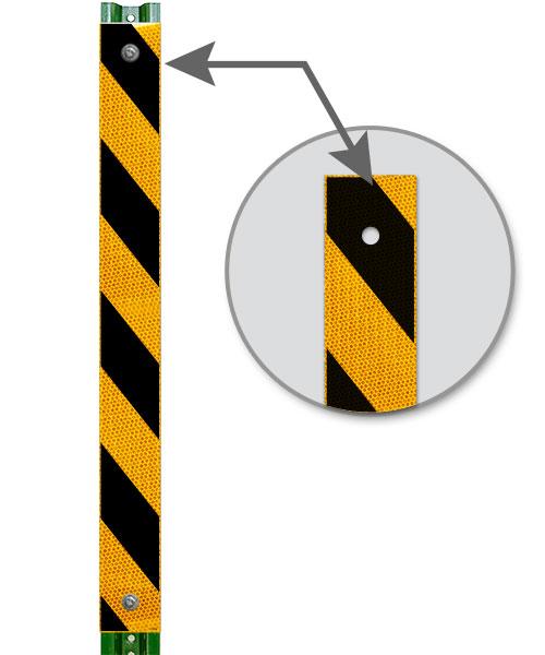 Yellow / Black Striped Reflective U-Channel Post Panel