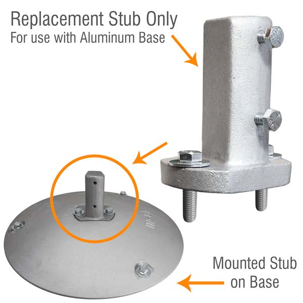 Replacement Stub for Aluminum Sign Base with Hardware Kit