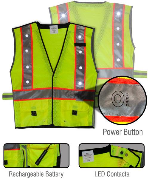 LED Vest Fluorescent Yellow/Green