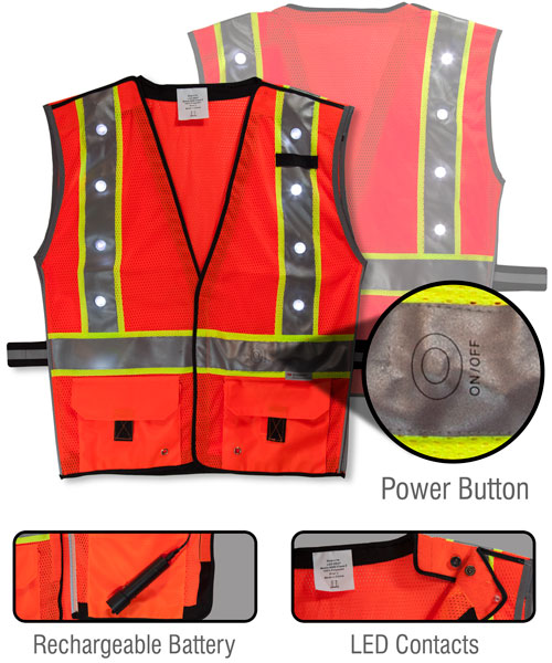 LED Vest Fluorescent Orange