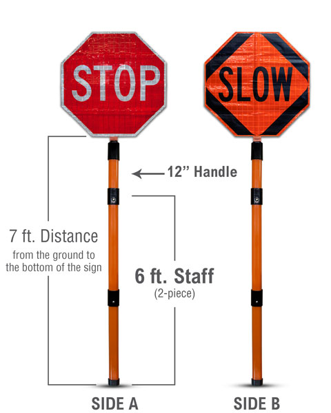 Stop / Slow Roll-Up Paddle Sign Kit