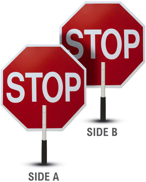 Stop / Stop Rigid Sign with Handle & Staff
