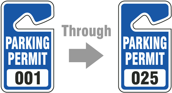 Blue Parking Permit Tags