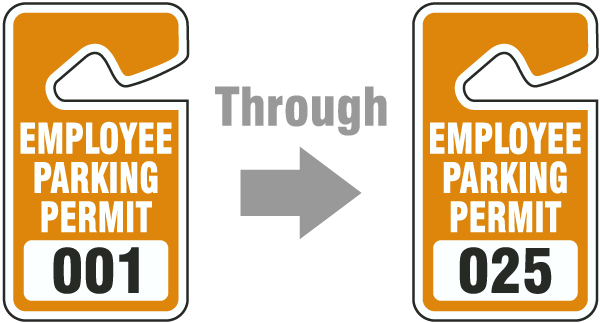 Orange Employee Parking Permit Tags