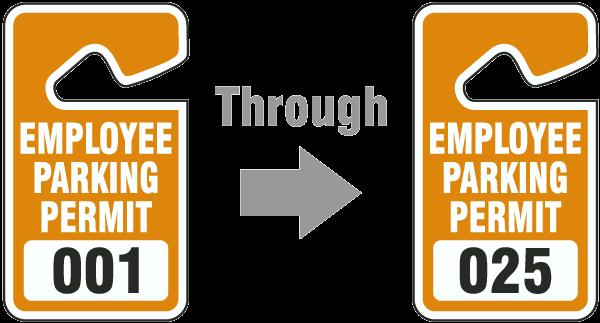 Orange Employee Parking Permit Tags