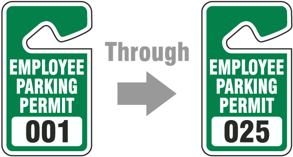 Green Employee Parking Permit Tag