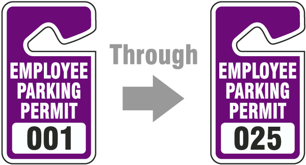 Purple Employee Parking Permit Tag