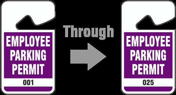 Purple Employee Parking Permit Tag