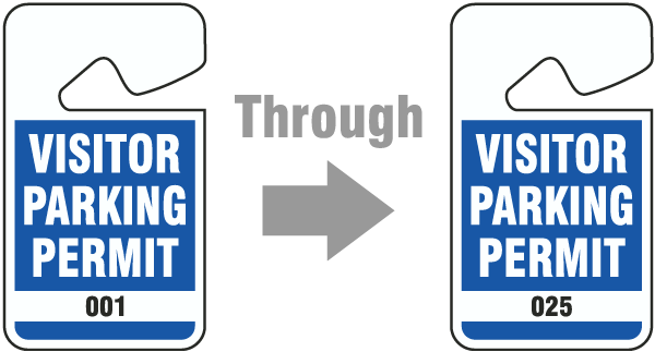 Blue Visitor Parking Permit Tag