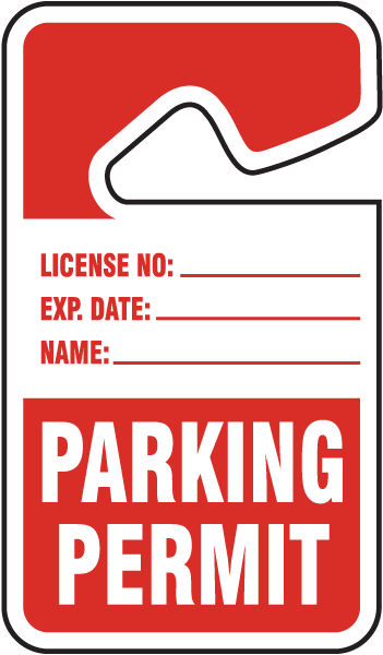Red Parking Permit Tags