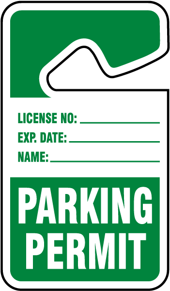 Parking Permit Hang Tag