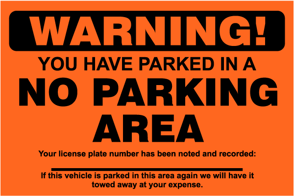 No Parking Area Violation Sticker