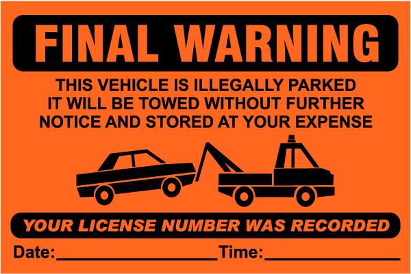 Final Warning Violation Sticker