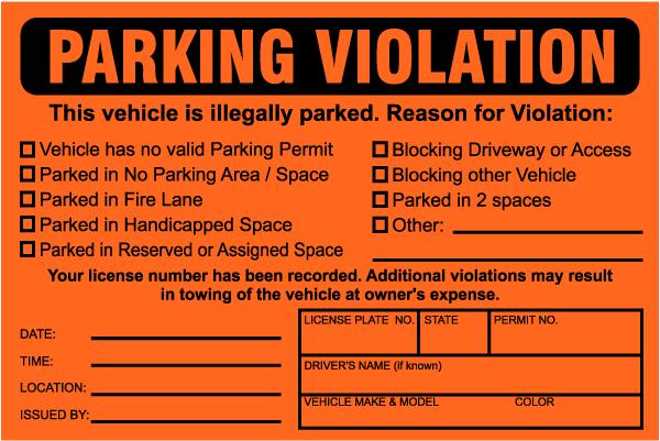 Parking Violation Sticker