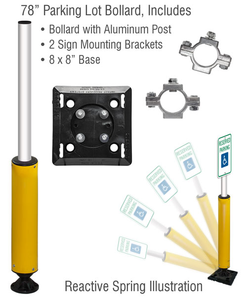 """78"""" Tall Fixed Base Impact Recovery Sign Post"""