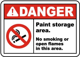 Paint Storage Area No Smoking Sign