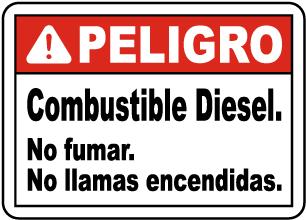 Spanish Danger Diesel Fuel No Smoking Sign