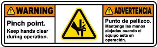 Bilingual Pinch Points Keep Clear Label