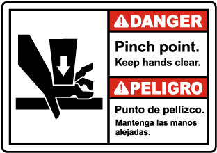 Bilingual Pinch Point Keep Hands Clear Label