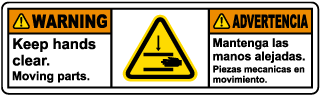 Bilingual Keep Hands Clear Moving Parts Label