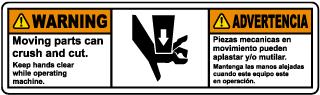 Bilingual Moving Parts Can Crush & Cut Label