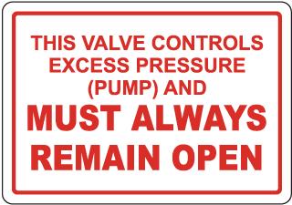 Excess Pressure Control Valve Sign