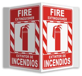 Bilingual 3-Way Fire Extinguisher Sign