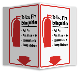 How To Use Fire Extinguisher 3-Way Sign