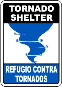 Bilingual Tornado Shelter Sign