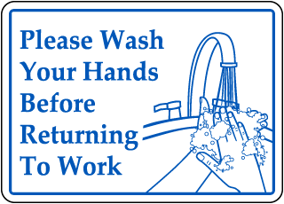 Wash Hands Before Returning Sticker
