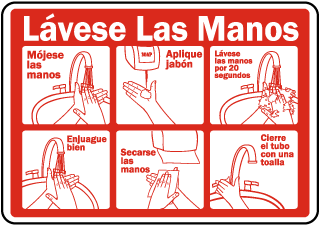 Spanish Wash Your Hands Instructions Sticker