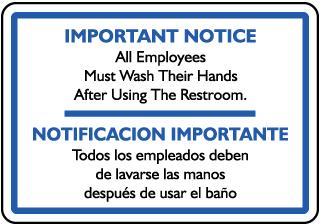 Bilingual Must Wash Hands Sticker
