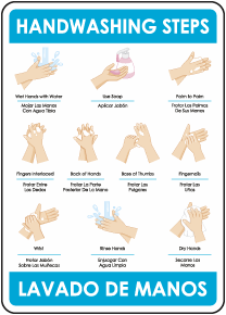 Bilingual Hand Washing the Correct Way Sign