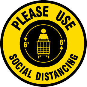 Please Use Social Distancing Floor Sign