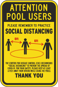 Attention Pool Users Social Distancing Sign